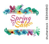 design banner with  spring sale ... | Shutterstock .eps vector #583444843