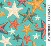 beautiful colorful starfish... | Shutterstock .eps vector #583452577