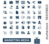 marketing media icons  | Shutterstock .eps vector #583458823
