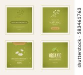 set of natural label and... | Shutterstock .eps vector #583461763