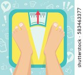 feet on weighing scales. vector ...   Shutterstock .eps vector #583463377