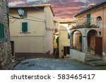 charming alleys town in the... | Shutterstock . vector #583465417