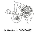 girl eating food with spoon... | Shutterstock .eps vector #583474417