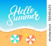 hello summer hand written... | Shutterstock .eps vector #583481653