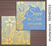 wedding invitation card suite... | Shutterstock .eps vector #583482313