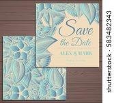 wedding invitation card suite... | Shutterstock .eps vector #583482343