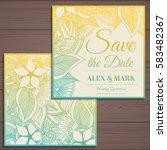 wedding invitation card suite... | Shutterstock .eps vector #583482367