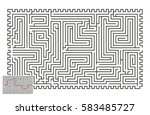 large vector horizontal maze... | Shutterstock .eps vector #583485727