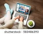 video call and chat concept.... | Shutterstock . vector #583486393