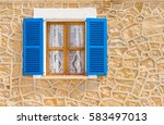 mediterranean house wall with... | Shutterstock . vector #583497013