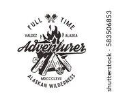 adventurer vintage label with... | Shutterstock .eps vector #583506853