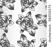 seamless pattern with roses and ... | Shutterstock .eps vector #583520173