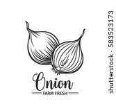 hand drawn onion icon. vector... | Shutterstock .eps vector #583523173