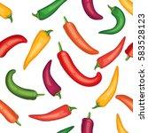 seamless chile pepper pattern.... | Shutterstock .eps vector #583528123