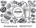 fast food and drink set. burger ... | Shutterstock .eps vector #583537417