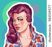 young woman vintage portrait ... | Shutterstock .eps vector #583539577