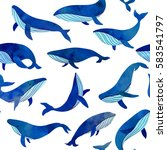 beautiful blue whales seamless... | Shutterstock .eps vector #583541797