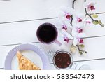 cup of tea or coffee  pie on... | Shutterstock . vector #583547473