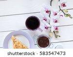 cup of tea or coffee  pie on... | Shutterstock . vector #583547473