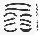 set of black vintage ribbon... | Shutterstock .eps vector #583548637