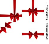 set satin bows of red ribbon on ... | Shutterstock .eps vector #583550017