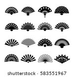 Hand Paper Fan Vector Icons....