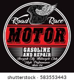 motorcycle garage repair... | Shutterstock .eps vector #583553443