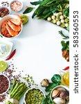 healthy dinner ingredients food ...   Shutterstock . vector #583560553