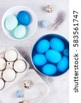 painting eggs for easter   top... | Shutterstock . vector #583561747