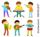 set of kids playing musical...