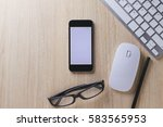 office desk wood with computer  ... | Shutterstock . vector #583565953