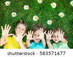 group of happy children playing ... | Shutterstock . vector #583571677
