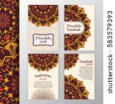 set of vintage invitation and... | Shutterstock .eps vector #583579393