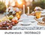 white coup on wedding... | Shutterstock . vector #583586623