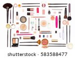 makeup cosmetics  brushes and... | Shutterstock . vector #583588477