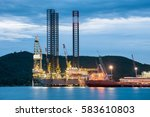 oil rig in the petroleum oil... | Shutterstock . vector #583610803