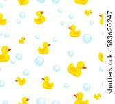 rubber duck and bubbles... | Shutterstock .eps vector #583620247