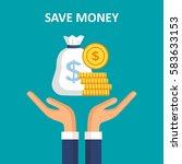 save money concept. hands... | Shutterstock .eps vector #583633153
