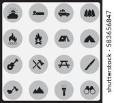 set of 16 editable camping... | Shutterstock .eps vector #583656847
