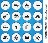 set of 16 editable camping... | Shutterstock .eps vector #583657063