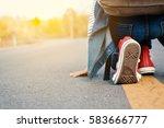 happy asian girl backpack  in...   Shutterstock . vector #583666777