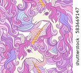 unicorn with multicolored mane. ... | Shutterstock .eps vector #583669147
