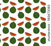 watermelon vector seamless...   Shutterstock .eps vector #583673383