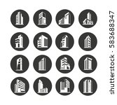 building icon set in circle... | Shutterstock .eps vector #583688347