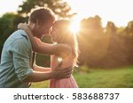 smiling ittle girl and her... | Shutterstock . vector #583688737