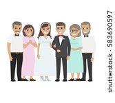 wedding day web banner of... | Shutterstock .eps vector #583690597