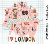 cartoon map of london with... | Shutterstock .eps vector #583691623