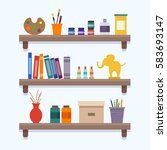 shelves with art equipment and... | Shutterstock .eps vector #583693147