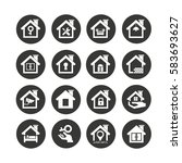 home icon set in circle button | Shutterstock .eps vector #583693627