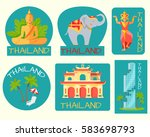 thailand poster of cards with... | Shutterstock .eps vector #583698793